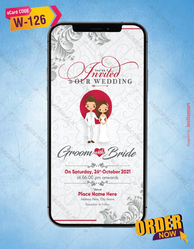 White & Red Theme Christian Wedding Invite