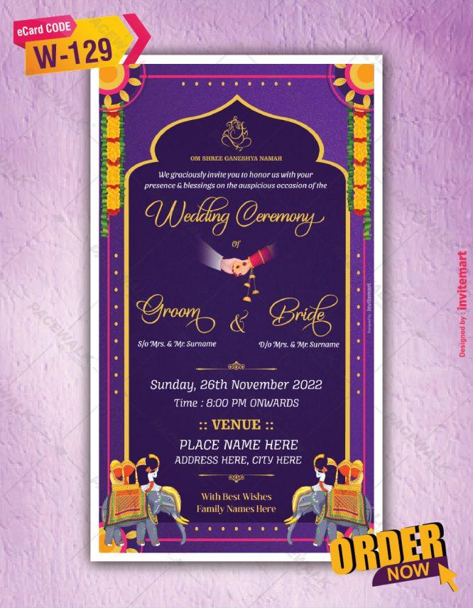 Traditional Elephants Indian Wedding Invitation