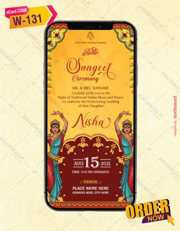 Sangeet Ceremony Invitation Card