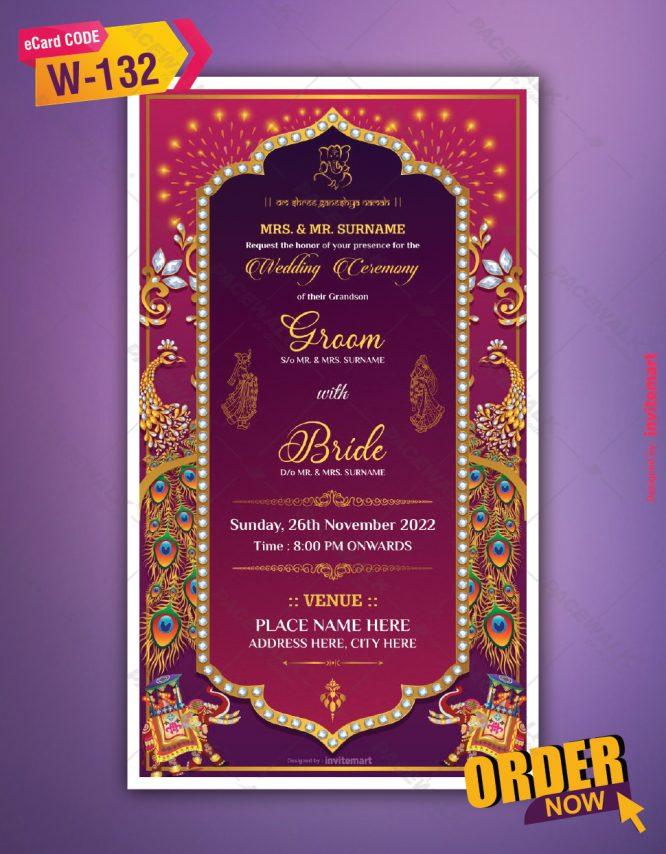 Peacock Themed Wedding Invite Card