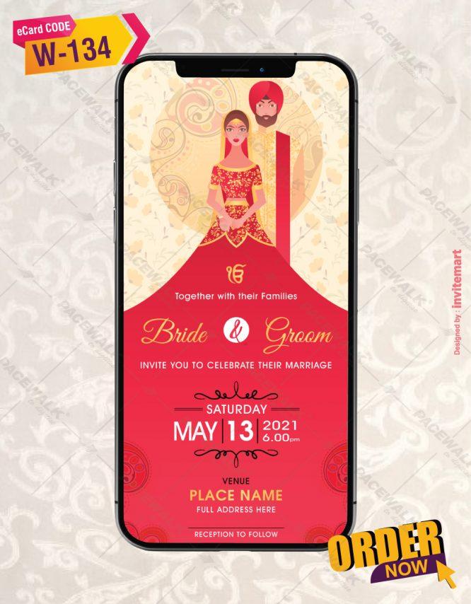Punjabi Cartoon Couple Wedding Invite