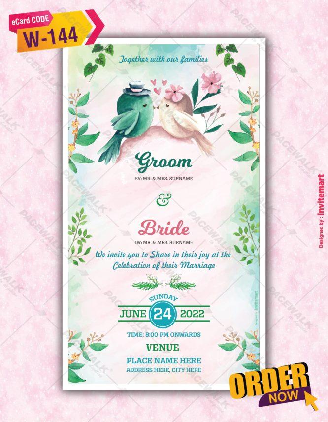 Watercolor Birds Wedding Invitation
