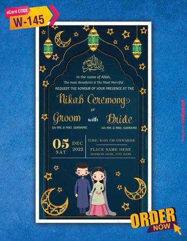 Royal Blue Nikah Invitation