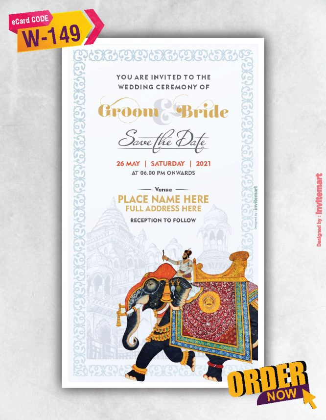 Mughal Elephant Wedding Invitation