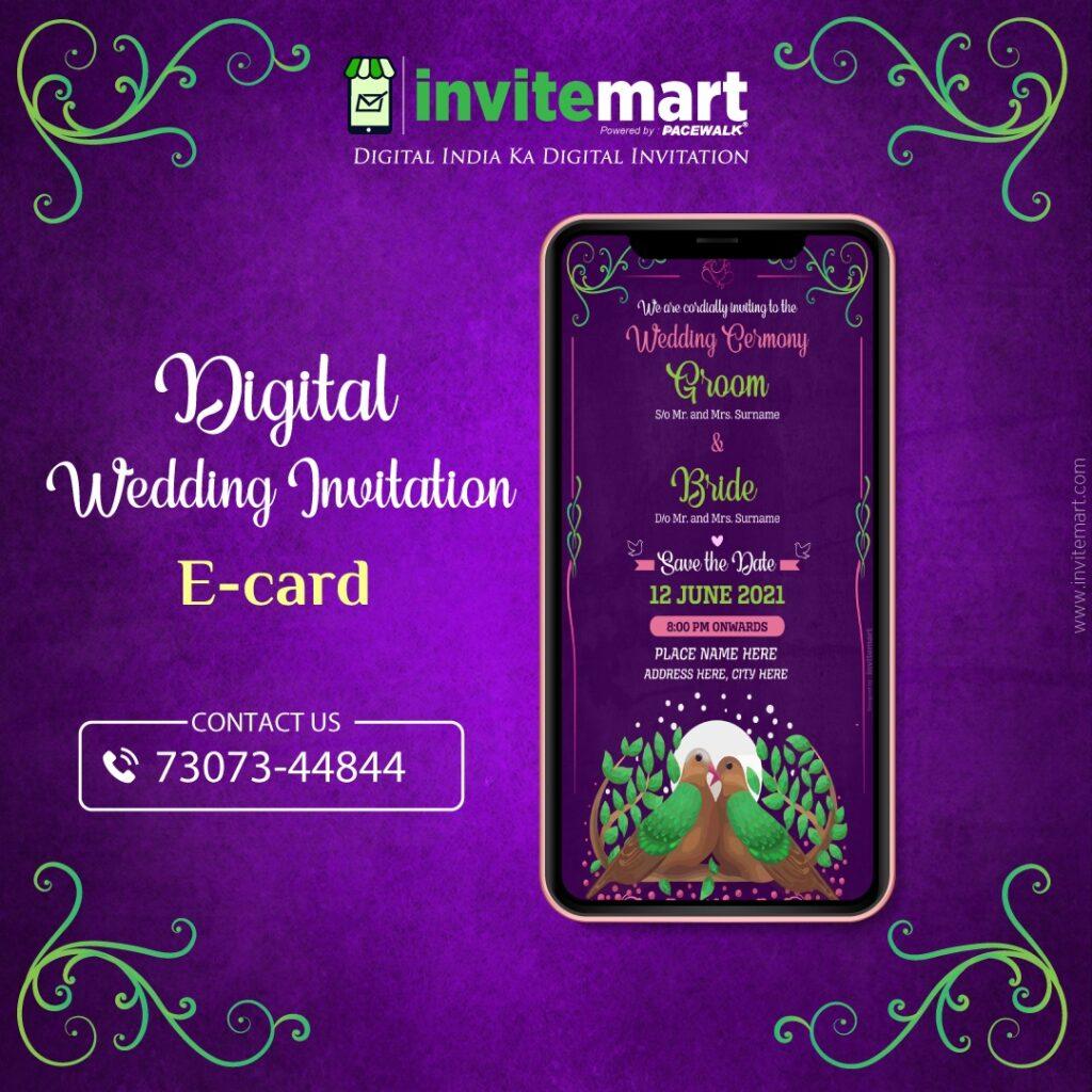 Cute Birds theme digital wedding invitation ecard