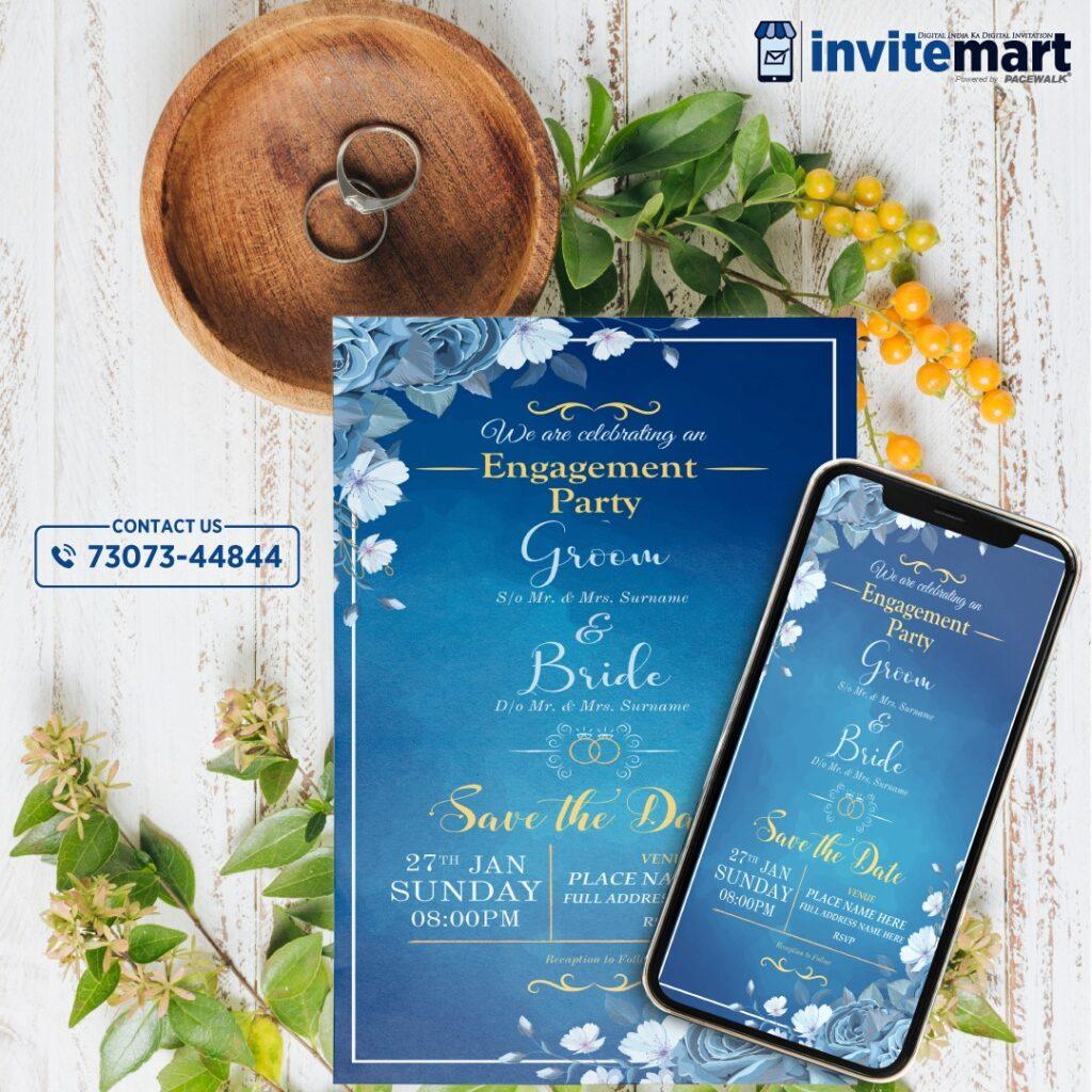 elegant blue wedding invitation card