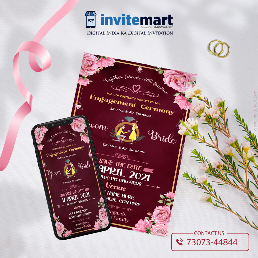 Pink floral engagement ceremony invite card