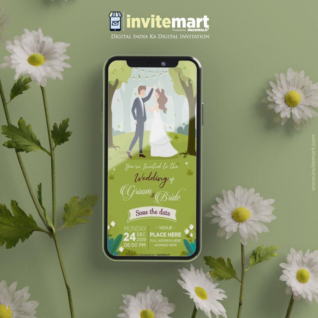 forest theme wedding invitation card