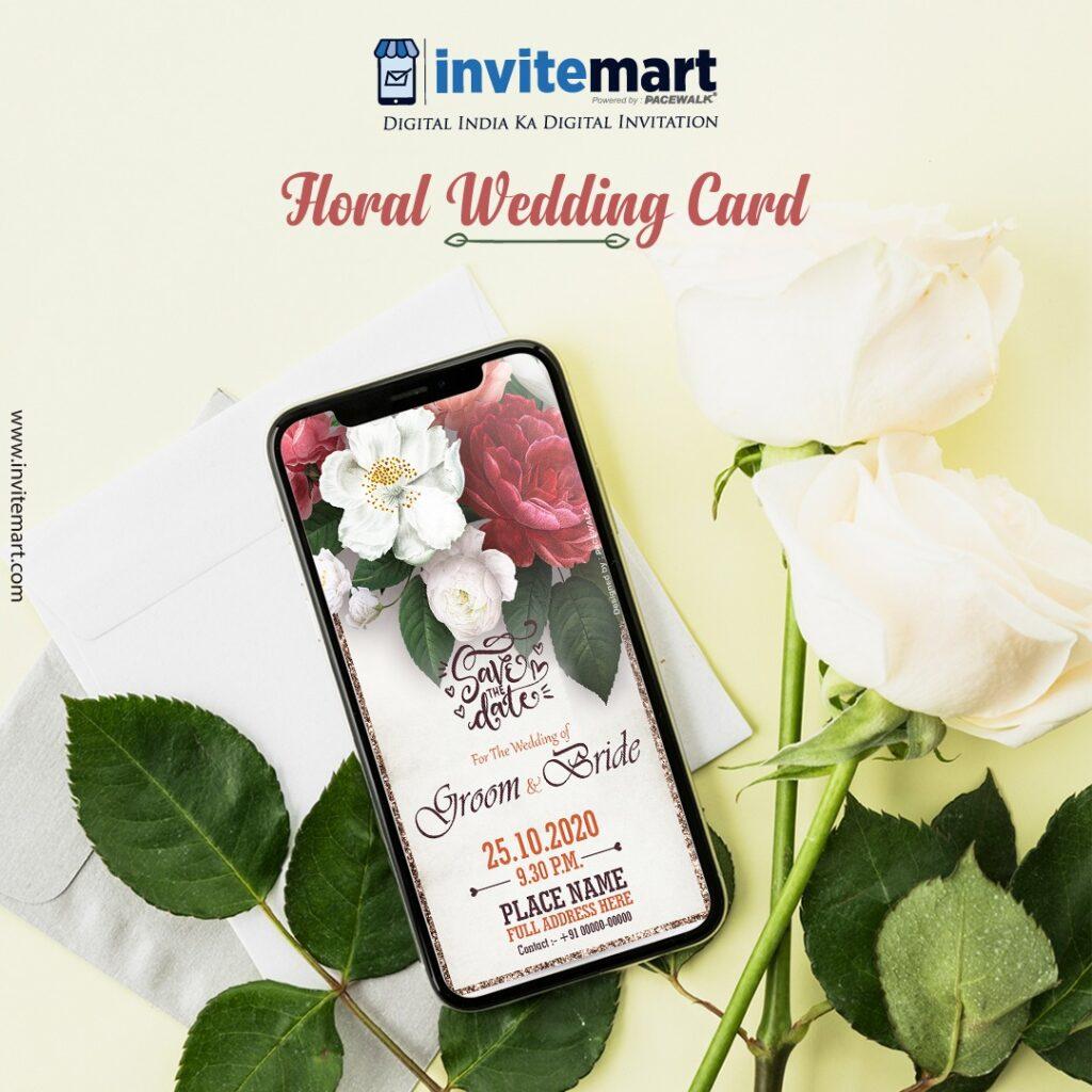 floral rose wedding invitation card