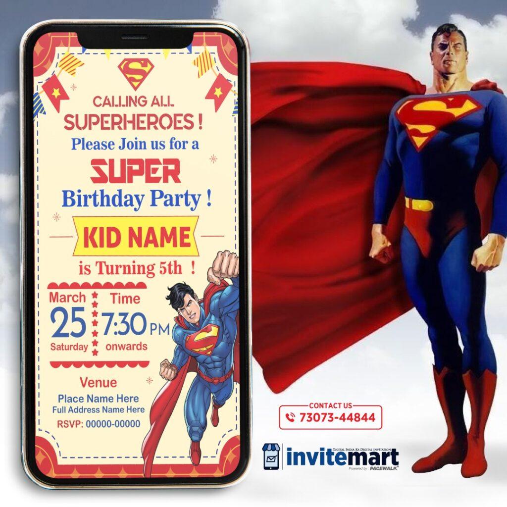 superman birthday invitation card