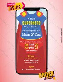 Superhero Baby Shower Invitation Card