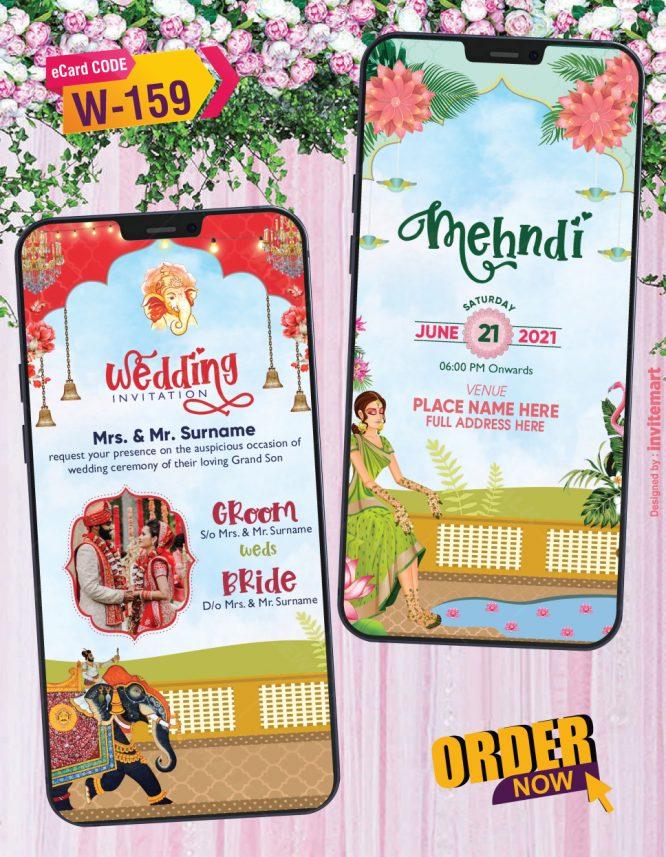 Indian Bridal Mehndi Haldi and Wedding Invitation Card