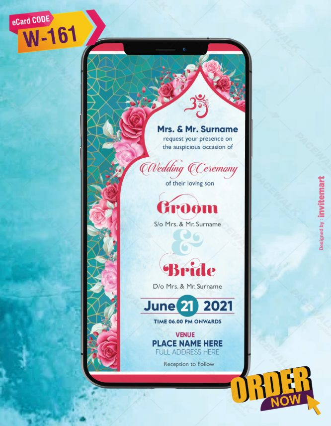 Indian floral Wedding Invitation Card