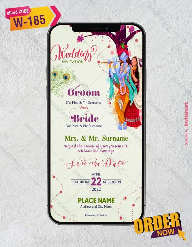 Radhe Krishna Wedding Invitation