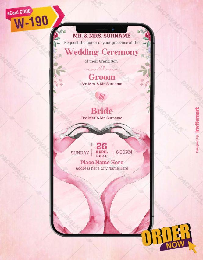 Flamingos Couple Wedding Invitation Card