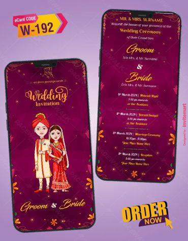 Indian Cartoon Couple Wedding Invitation Card