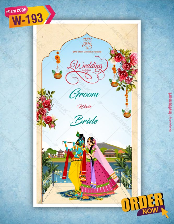 Radhe Krishna Wedding Invitation Card   W-193