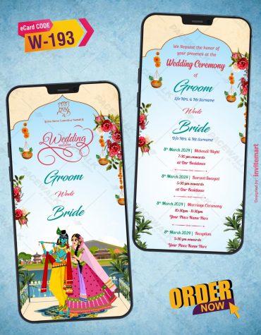 Radhe Krishna Wedding Invitation Card