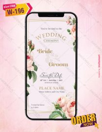 Peach Roses Wedding Invitation Card