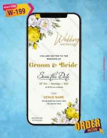 Yellow floral Save The Date Wedding Invitation