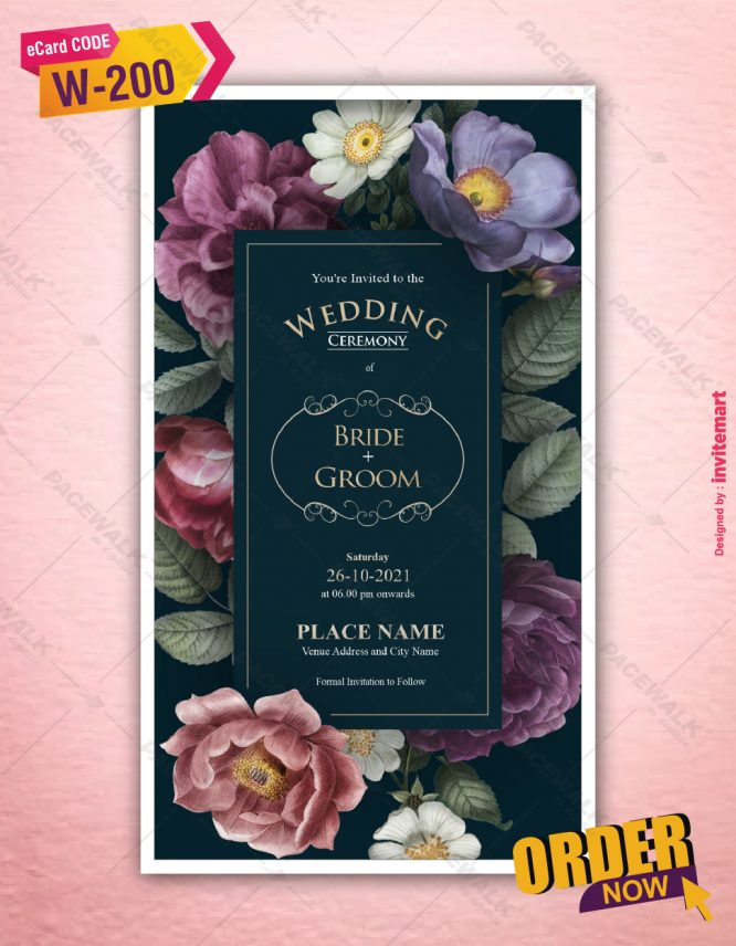 Floral Wedding Invitation Cards   W-200