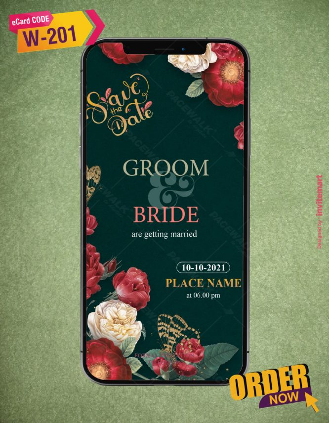 Floral Save The Date Wedding Ecards