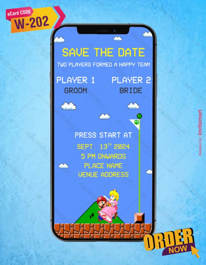 Super Mario Themed Wedding Invitation