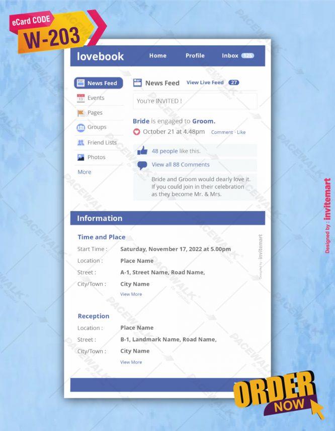 Facebook Themed Wedding Invitation