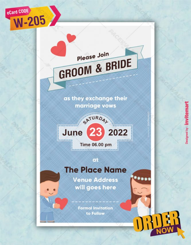 Beautiful couple proposing wedding invitation