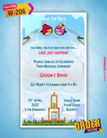 Angry Birds Wedding Card