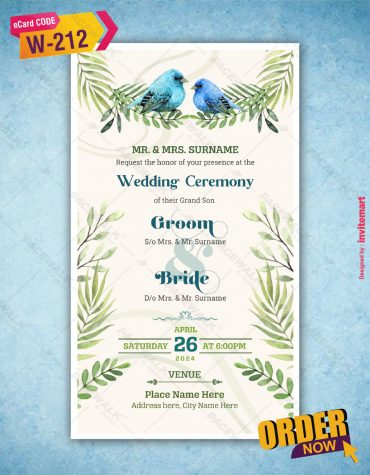 Watercolor Blue Birds Wedding Invitation