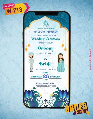 Punjabi Wedding Invitation with Peacock Theme