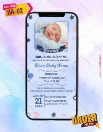Baby Boy Birth Announcement Invitation