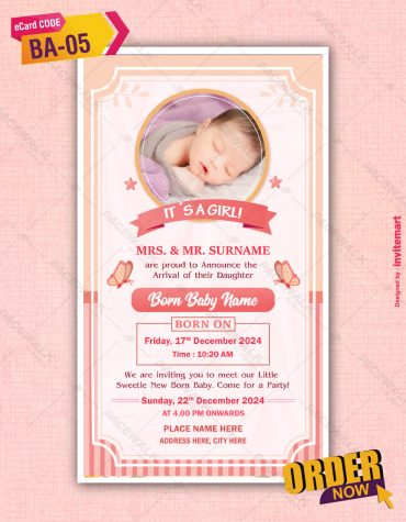Baby Girl Birth Announcement With Photo