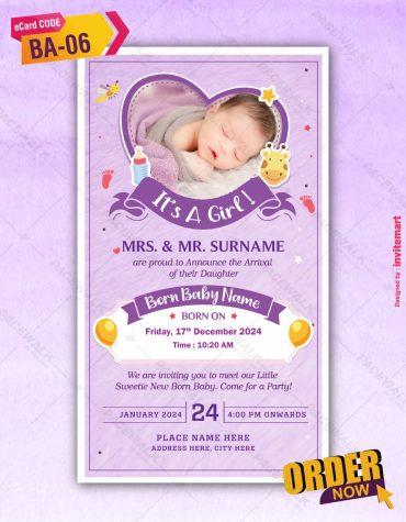 Purple Baby Girl Birth Invitations