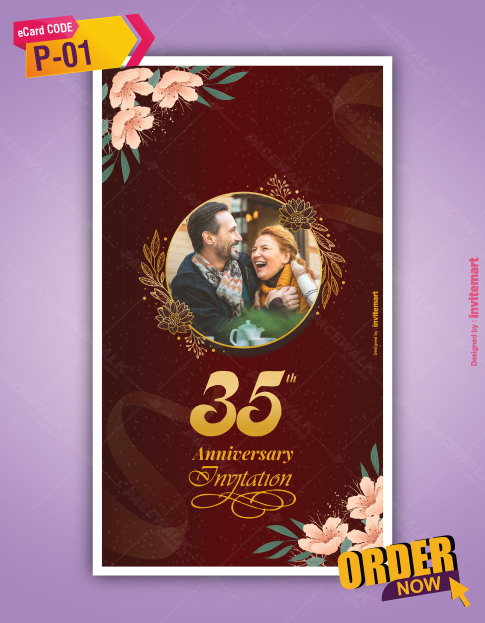 Floral 35th Wedding anniversary Invitation