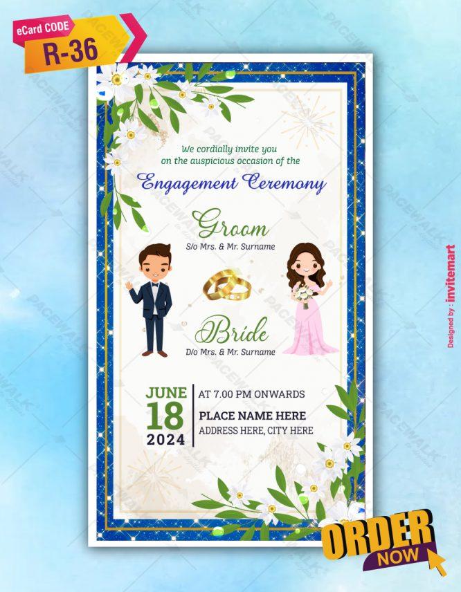 White Floral Engagement Ceremony Invitation