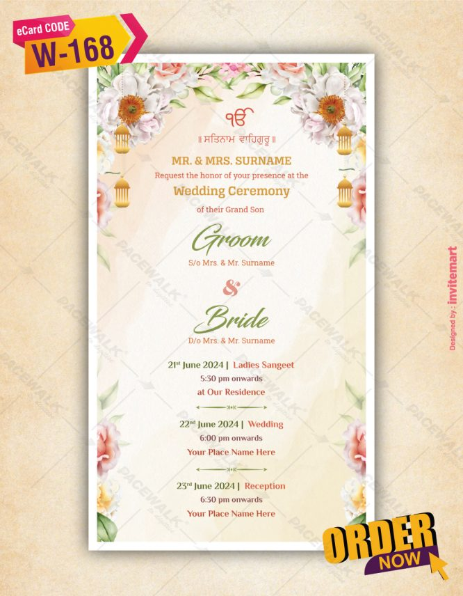 Floral Sikh Wedding Invitation with Couple