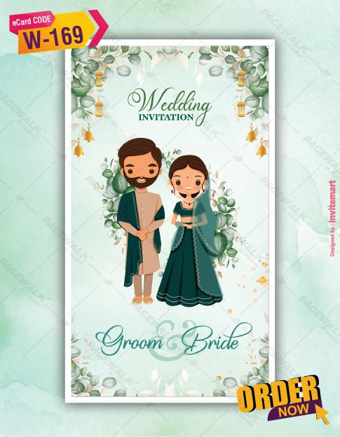 Floral Muslim Cartoon Couple Wedding invitation