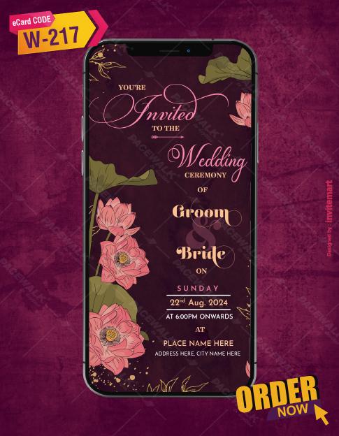 Pink Floral Wedding Ceremony Invitation