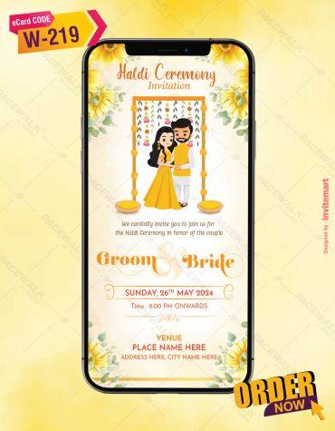 Floral Haldi Ceremony Invitation Card