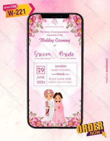 Punjabi Floral Wedding Ceremony Invitation Card