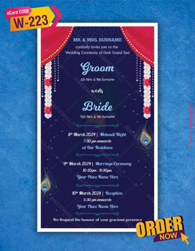 Radha Krishna Theme Wedding Invitation
