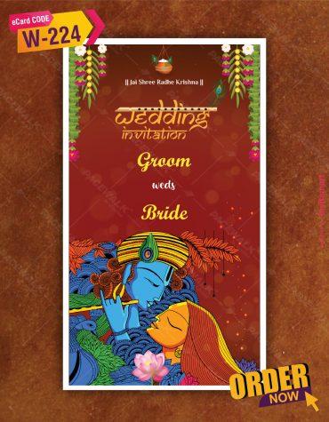 Floral Radha Krishna Wedding Invitation