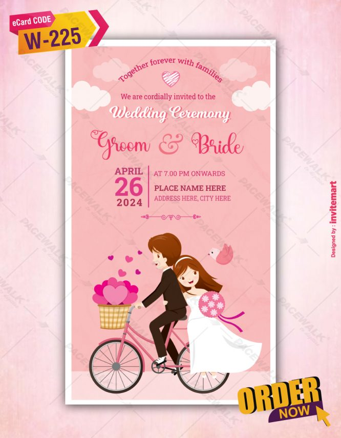 Beautiful Cartoon Couple Wedding Invitation