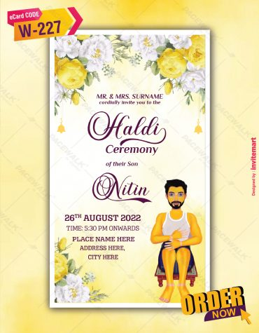 Haldi Ceremony Invitation Card For Groom