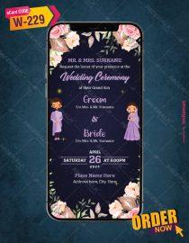 floral Cartoon Couple Wedding Invitation
