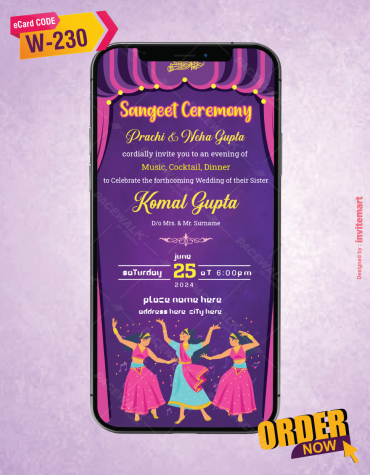 Beautiful Sangeet Ceremony Invitation Ecard