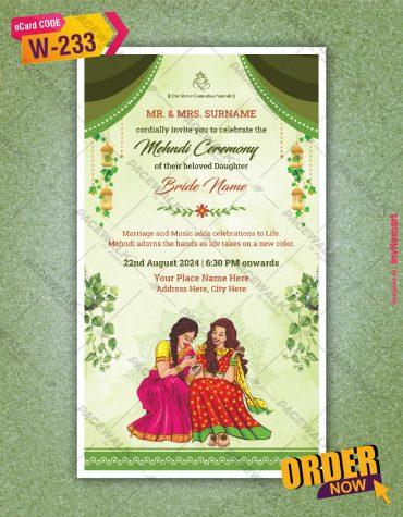 floral Mehndi Invitation Cards