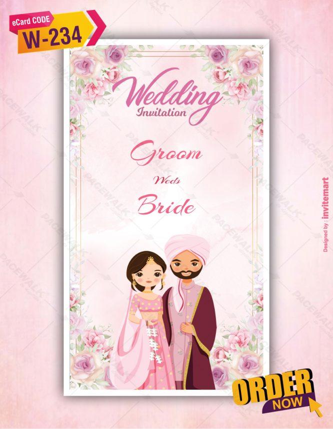 Floral Sikh Wedding Invitation